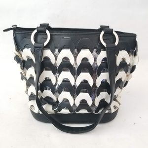 Black and white woven faux leather tote